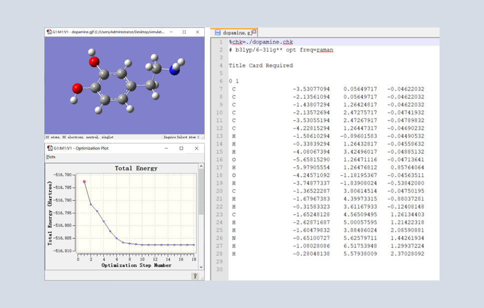 Gaussian量化模拟入门教程(四):实例操作之多巴胺分子的结构优化及基本性质分析