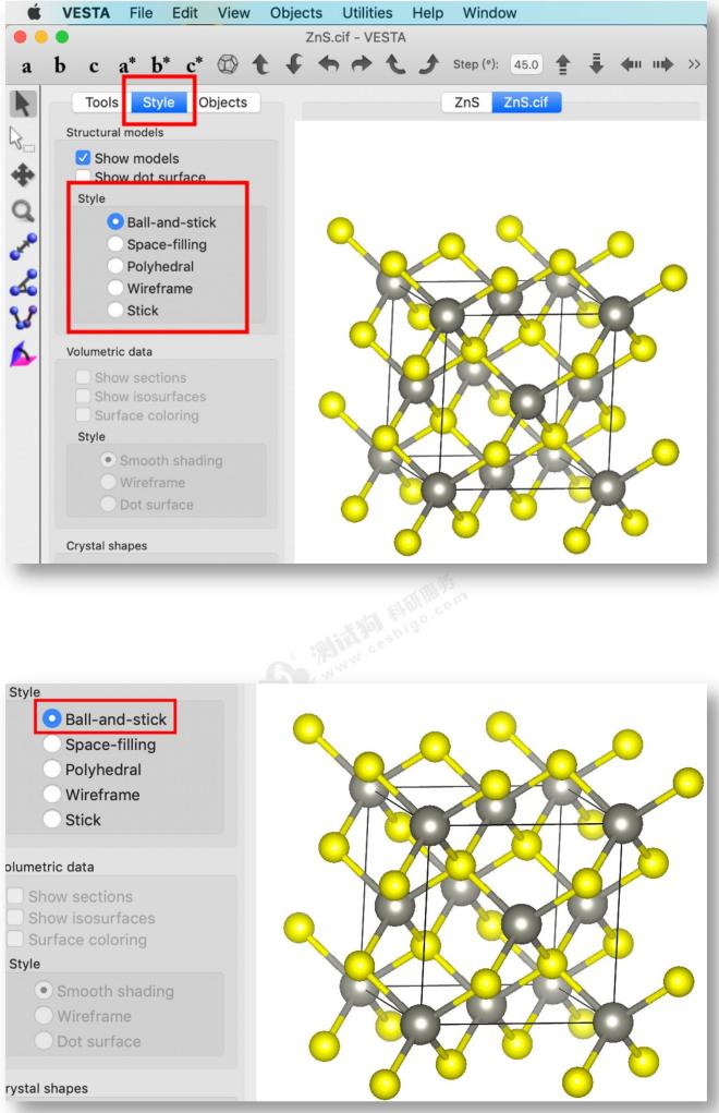 图19调整晶体结构显示方式 图20晶体结构显示方式